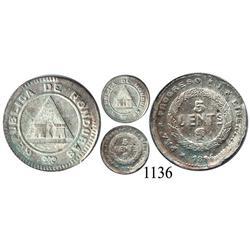 Honduras, 5 centavos, 1886, broken die.