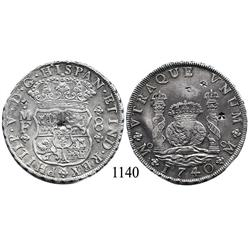 Mexico City, Mexico, pillar 8 reales, Philip V, 1740/30MF, with chopmarks.
