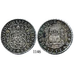Mexico City, Mexico, pillar 8 reales, Ferdinand VI, 1755MM.