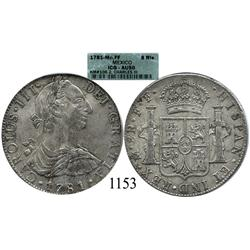 Mexico City, Mexico, bust 8 reales, Charles III, 1781FF, encapsulated ICG-AU50.