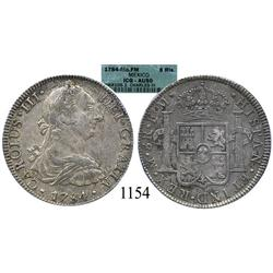 Mexico City, Mexico, bust 8 reales, Charles III, 1784FM, encapsulated ICG-AU50.