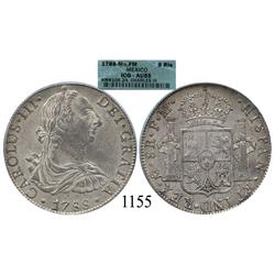 Mexico City, Mexico, bust 8 reales, Charles III, 1788FM, encapsulated ICG-AU55.