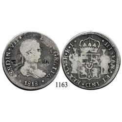 Chihuahua, Mexico (War for Independence), bust 8 reales, Ferdinand VII, 1818RP, with countermarks T