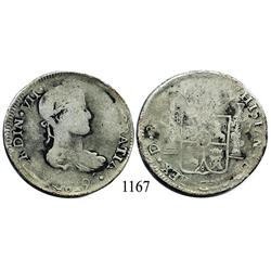 Durango, Mexico (War for Independence), bust 8 reales, Ferdinand VII, 1819(CG).