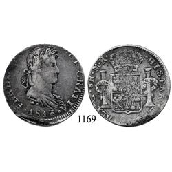Guadalajara, Mexico (War for Independence), bust 8 reales, Ferdinand VII, 1813/2MR.