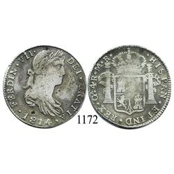 Guadalajara, Mexico (War for Independence), bust 4 reales, Ferdinand VII, 1814MR, large bust.