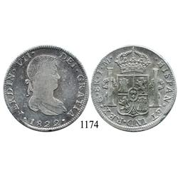 Guanajuato, Mexico (War for Independence), bust 8 reales, Ferdinand VII, 1822JM.