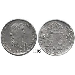 Zacatecas, Mexico (War for Independence), bust 8 reales, Ferdinand VII, 1820AG.