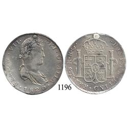 Zacatecas, Mexico (War for Independence), bust 8 reales, Ferdinand VII, 1820RG.