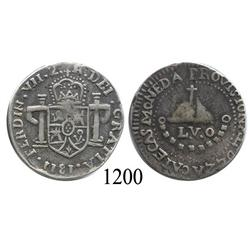 Zacatecas, Mexico (War for Independence), bust 2 reales, Ferdinand VII, 1811, LVO provisional coinag