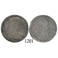 Zacatecas, Mexico (War for Independence), bust 2 reales, Ferdinand VII (early armored bust), 1816AG.