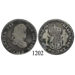 Zacatecas, Mexico (War for Independence), bust 2 reales, Ferdinand VII, 1818AG.