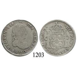 Zacatecas, Mexico (War for Independence), bust 2 reales, Ferdinand VII, 1820AG.