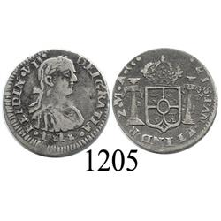 Zacatecas, Mexico (War for Independence), bust ½ real, Ferdinand VII, 1818AG.