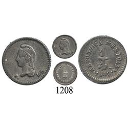 Zacatecas, Mexico, ¼ real, 1842/1LR.