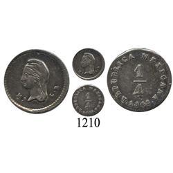 Mexico City, Mexico, ¼ real, 1842LR.