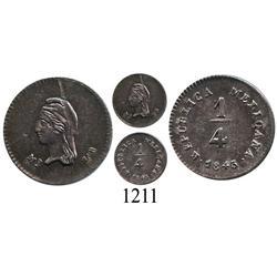 Mexico City, Mexico, ¼ real, 1843LR.
