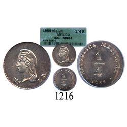 Mexico City, Mexico, ¼ real, 1859LR, encapsulated ICG MS-64.