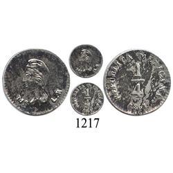 Mexico City, Mexico, ¼ real, 1861LR.