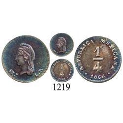 Mexico City, Mexico, ¼ real, 1863/53LR.