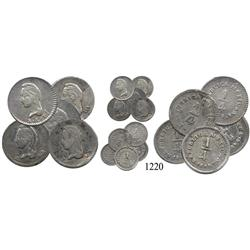 Lot of 5 Mexican ¼ reales (various mints):  1842ZsLR (2), 1843/2SLPi, 1843/2GoLR and 1849GoLR.