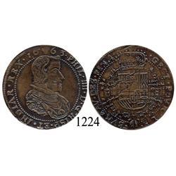 Brabant, Spanish Netherlands (Brussels mint), copper jeton, Philip IV, 1663.