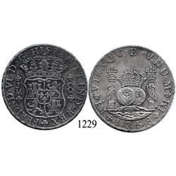 Lima, Peru, pillar 8 reales, Ferdinand VI, 1758JM.