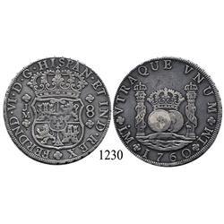 Lima, Peru, pillar 8 reales, Ferdinand VI, 1760JM.