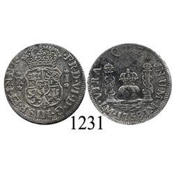 Lima, Peru, pillar 1 real, Ferdinand VI, 1758JM.