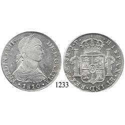 "Lima, Peru, bust 8 reales, Ferdinand VII transitional (""imaginary bust""), 1810JP."