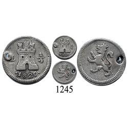 Lima, Peru, ¼ real, Ferdinand VII, 1820.