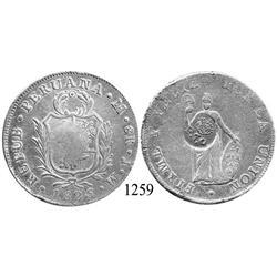 "Philippines, 8 reales, ""F 7"" countermark on Lima, Peru, 8 reales, 1825JM, rare."