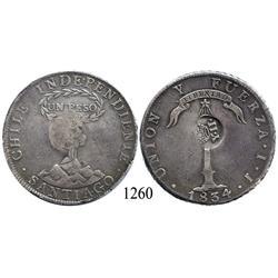 Philippines, peso, Y•II• countermark on Santiago, Chile, peso, 1834IJ.