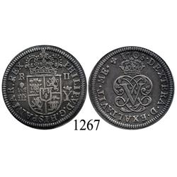 Segovia, Spain, monogram-type milled 2 reales, Philip V, 1708Y, aligned axes.