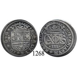 Barcelona, Spain, milled 2 reales, Charles III Pretender, 1708.