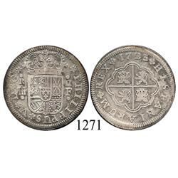 "Segovia, Spain, milled 2 reales ""pistareen,"" Philip V, 1723F."