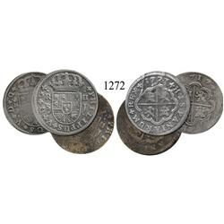 "Lot of 3 Spanish milled 2 reales ""pistareens"" of Philip V: Madrid, 1717J; Seville, 1721J and 1723J."