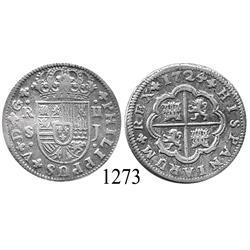 """Seville, Spain, milled 2 reales """"pistareen,"""" Philip V, 1724J."""