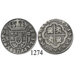 """Seville, Spain, milled 2 reales """"pistareen,"""" Philip V, 1725J."""
