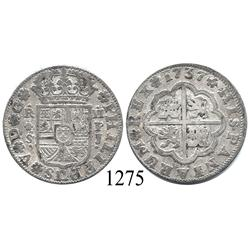 "Seville, Spain, milled 2 reales ""pistareen,"" Philip V, 1737PJ."