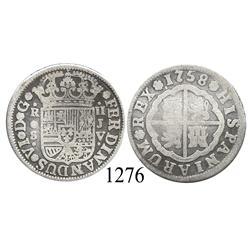 "Seville, Spain, milled 2 reales ""pistareen,"" Ferdinand VI, 1758JV."