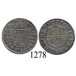 "Seville, Spain, milled 1 real ""half pistareen,"" Philip V, 1737P."