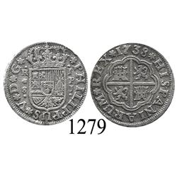 "Seville, Spain, milled 1 real ""half pistareen,"" Philip V, 1738PJ."