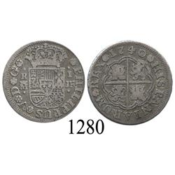 "Madrid, Spain, milled 1 real ""half pistareen,"" Philip V, 1740JF."