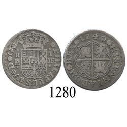 "Madrid, Spain, milled 1 real ""half pistareen,"" Philip V, 1740JF."