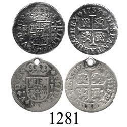 "Lot of 2 Spanish milled ½ real ""quarter pistareens"" of Philip V: Madrid, 1738PJ; Seville, 1738JF."