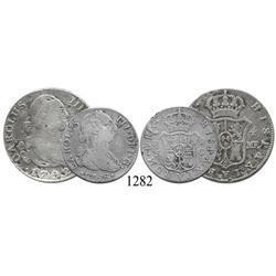 Mixed lot of one bust 4 reales of Madrid, Spain, Charles IV, 1792MF, and one bust 2 reales of Sevill