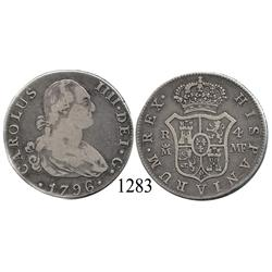 Madrid, Spain, bust 4 reales, Charles IV, 1796MF.