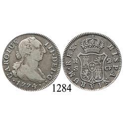 Seville, Spain, bust 2 reales, Charles III, 1774CF.