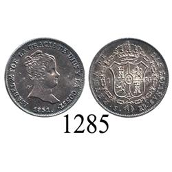 Seville, Spain, 1 real, Isabel II, 1851RD.